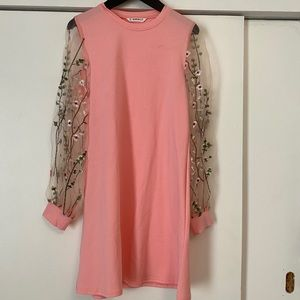 Girl's Shein Pink Dress with Lace Sleeves